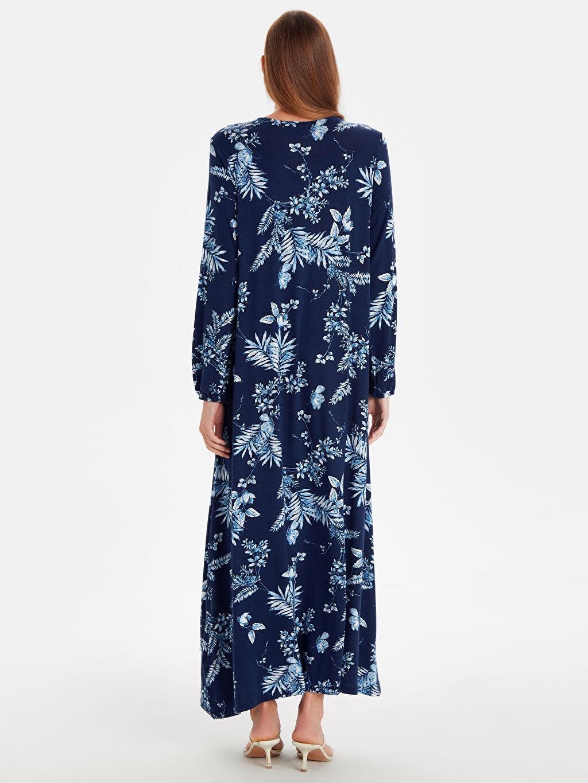 %97 Viskon %3 Elastan Uzun Desenli Uzun Kol Çiçek Desenli Uzun Viskon Elbise