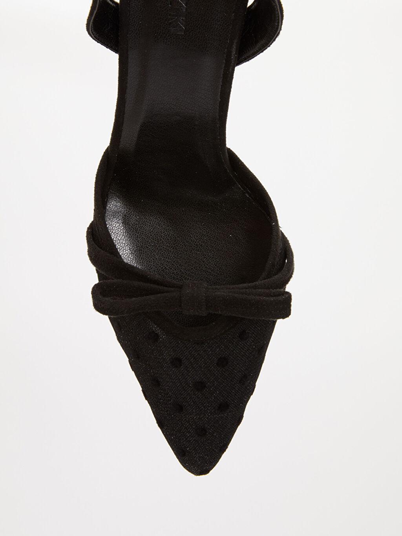 Siyah Kadın Fiyonklu Topuklu Ayakkabı