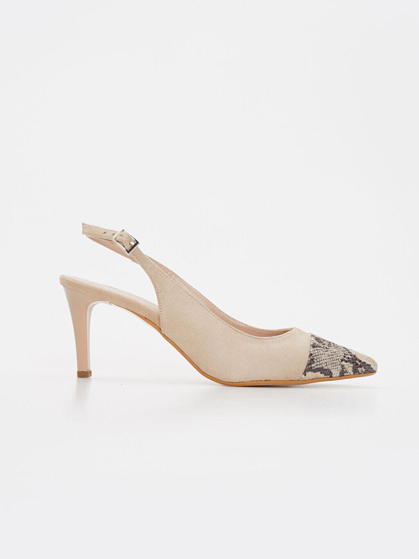Bej Kadın Yılan Derisi Görünümlü Topuklu Ayakkabı 9SY619Z8 LC Waikiki