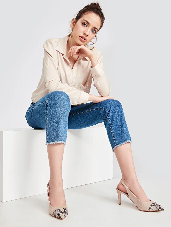 Bej Kadın Yılan Derisi Görünümlü Topuklu Ayakkabı