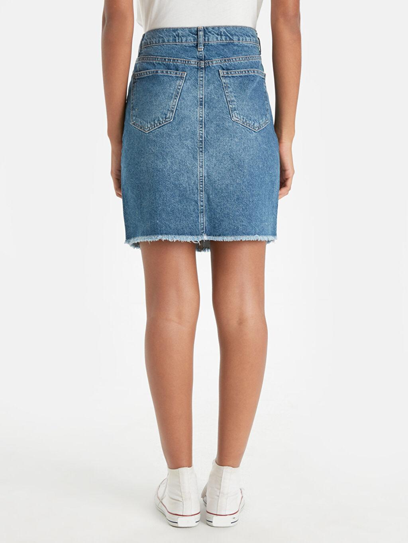 Kadın Sökük Detaylı Mini Jean Etek