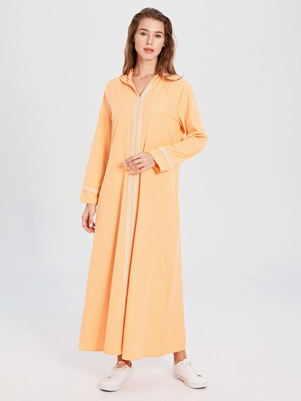 %88 Polyester %12 Elastan Uzun Uzun Kol İşleme Detaylı Salaş Kapüşonlu Elbise