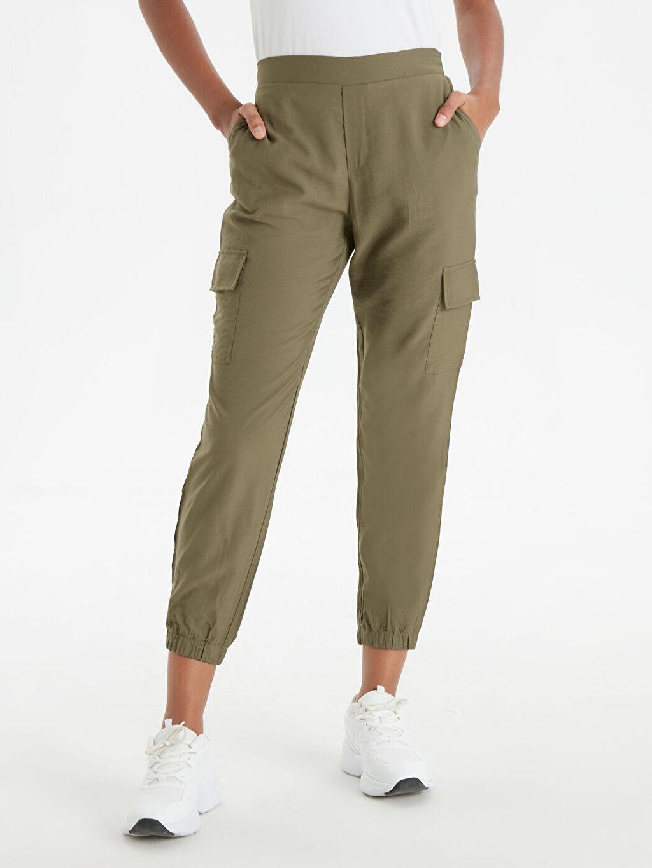 %11 Poliamid %89 Viskoz Yüksek Bel Standart Lastikli Bel Pantolon Beli Lastikli Jogger Pantolon