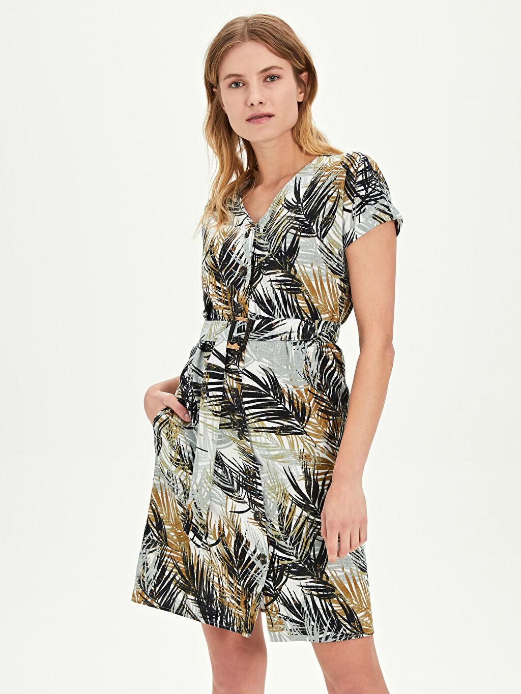 %100 Pamuk Diz Üstü Desenli Kısa Kol Kuşaklı Desenli Elbise