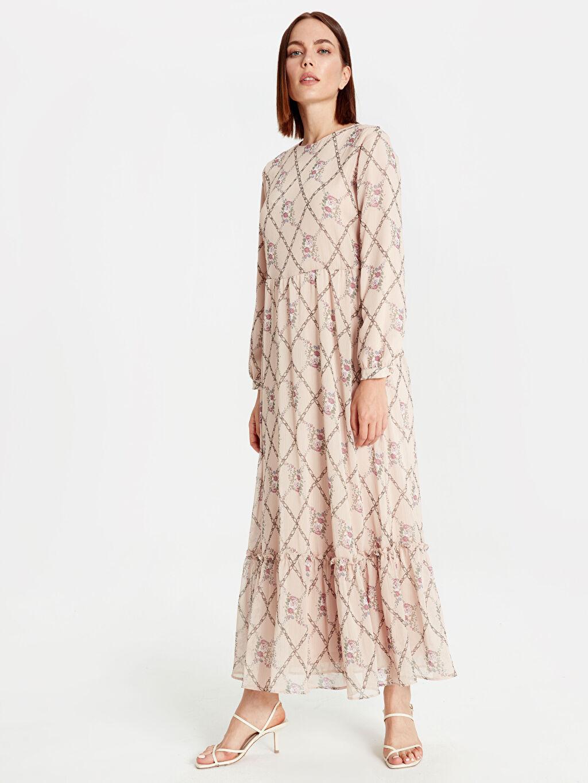 %100 Polyester %100 Polyester Uzun Desenli Uzun Kol Desenli Şifon Elbise