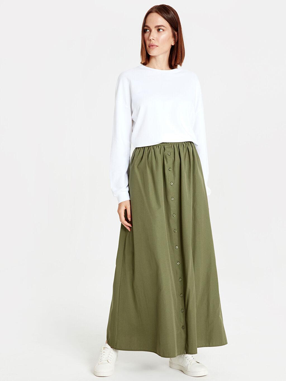 %50 Pamuk %50 Polyester Uzun Düz Beli Lastikli Uzun Kloş Etek