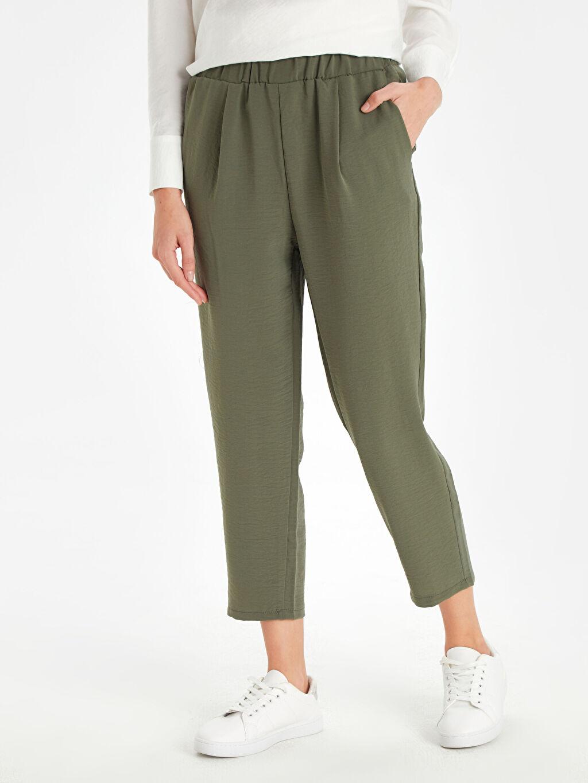 %100 Elastomultiester Esnek Harem Normal Bel Lastikli Bel Pantolon Beli Lastikli Bilek Boy Düz Paça Harem Pantolon