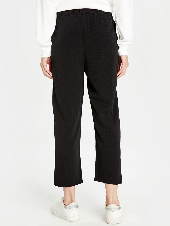 %100 Elastomultiester Beli Lastikli Bilek Boy Düz Paça Harem Pantolon