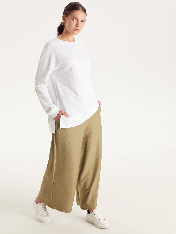 %12 Poliamid %88 Vıscose Bol Normal Bel Esnek olmayan Geniş Paça Pantolon Beli Lastikli Bol Pantolon