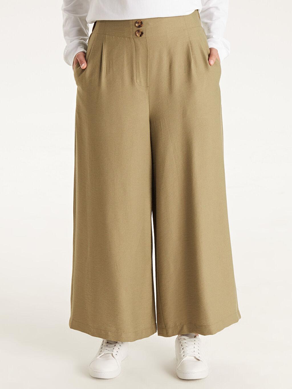 Kadın Beli Lastikli Bol Pantolon