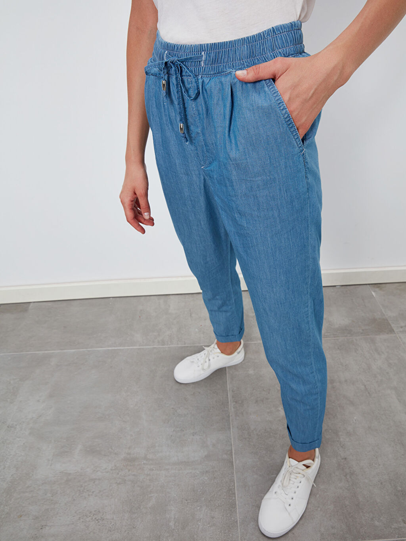 %100 Pamuk Normal Bel Jean Standart Beli Lastikli Havuç Jean Pantolon