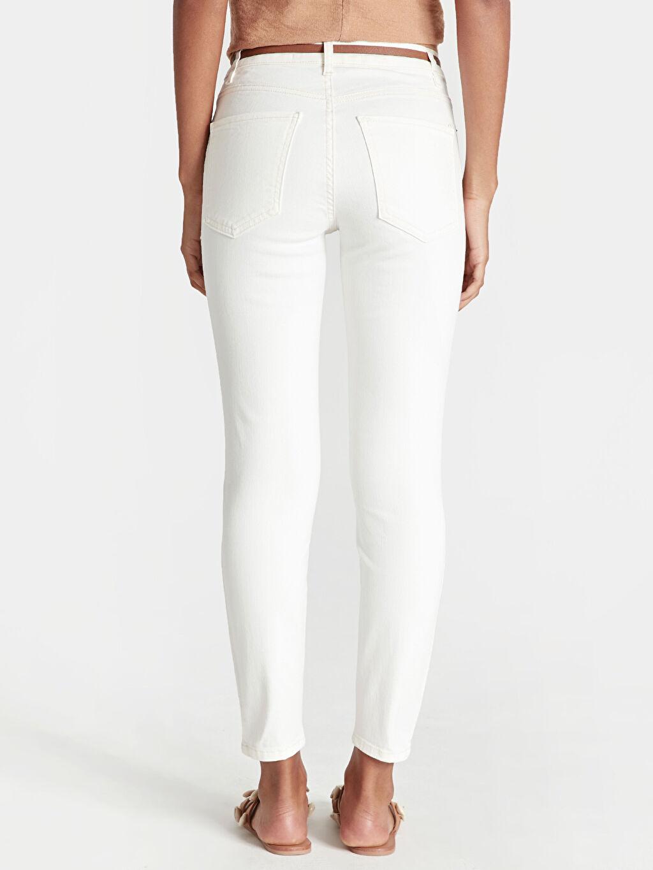 Kadın Kemerli Bilek Boy Skinny Jean Pantolon