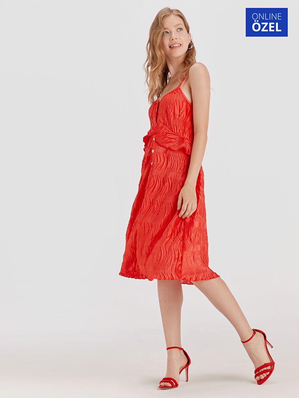 Kırmızı Fırfır Detaylı Askılı Elbise 9SB118Z8 LC Waikiki