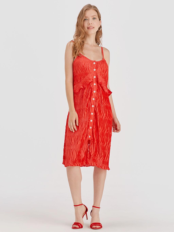 %100 Polyester %100 Polyester Diz Altı Desenli Kolsuz Fırfır Detaylı Askılı Elbise