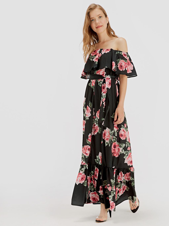 %86 Polyester %14 Elastan Uzun Desenli Kolsuz Çiçek Desenli Fırfır Yaka Uzun Kloş Elbise