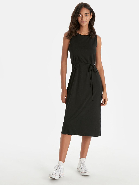 Siyah Pamuklu Düz Basic Elbise 9SB784Z8 LC Waikiki