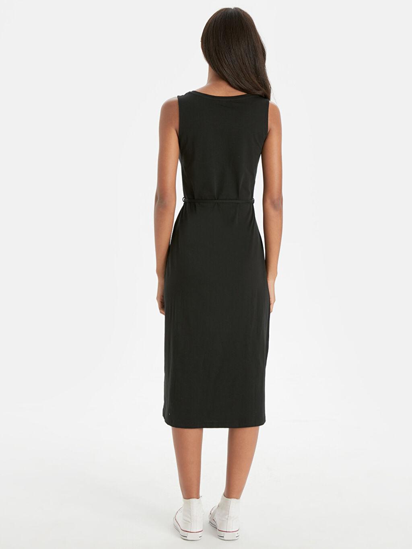 %100 Pamuk Diz Altı Düz Kolsuz Pamuklu Düz Basic Elbise