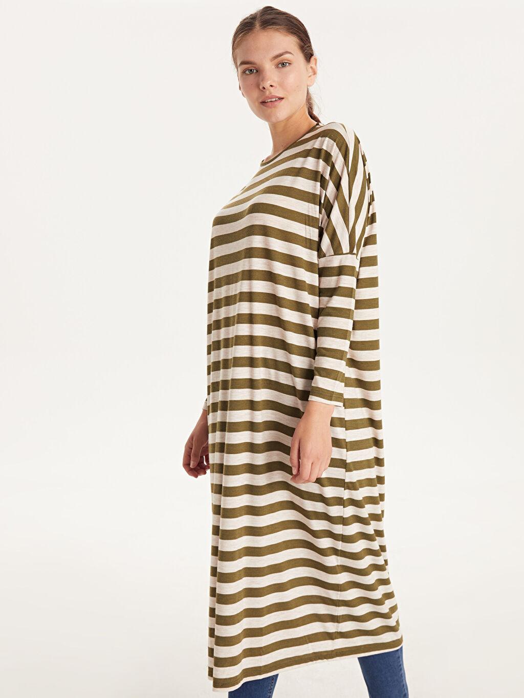 %66 Polyester %34 Viskoz Uzun Çizgili Uzun Kol Çizgili Salaş Elbise