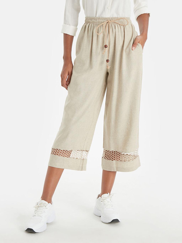 %50 Keten %50 Viskon Bol Yüksek Bel Geniş Paça Lastikli Bel Pantolon Paça Detaylı Beli Lastikli Kısa Paça Pantolon