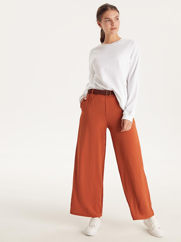 %100 Polyester Standart Normal Bel Esnek olmayan Pantolon Örgü Kemerli Bol Pantolon