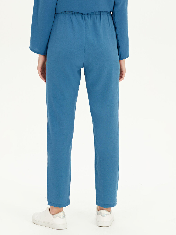 %100 Polyester Beli Lastikli Havuç Pantolon