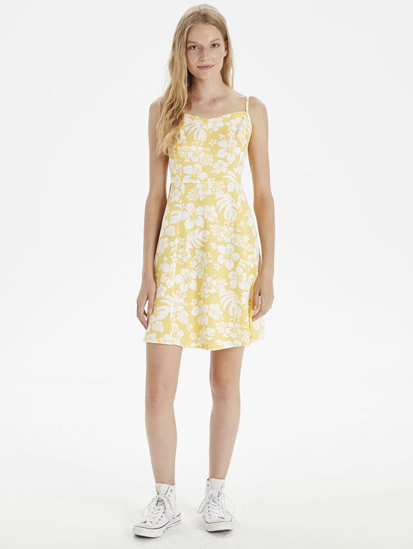 Sarı Çiçek Desenli Askılı Elbise 9SC752Z8 LC Waikiki