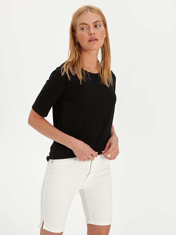 Beyaz Yüksek Bel Skinny Jean Şort 9SC995Z8 LC Waikiki