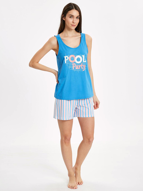 Mavi Yazı Baskılı Şortlu Pijama Takımı 9SH316Z8 LC Waikiki
