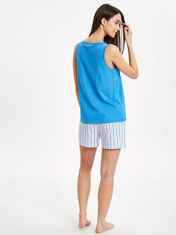 %100 Pamuk Standart Pijamalar Yazı Baskılı Şortlu Pijama Takımı