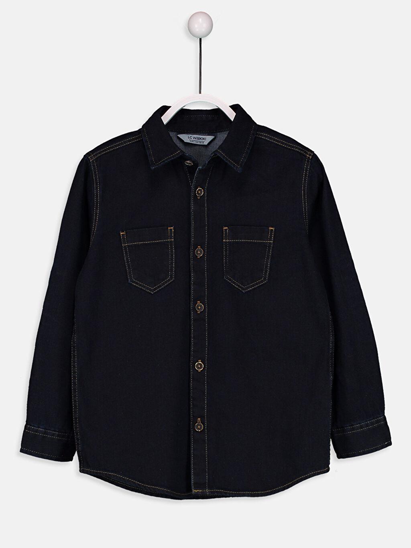 %100 Pamuk Standart Uzun Kol Düz Erkek Çocuk Jean Gömlek