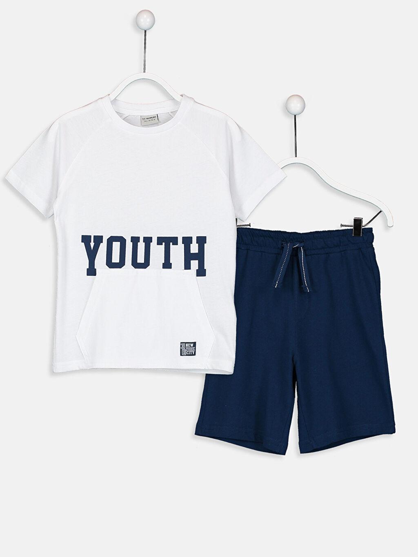 Beyaz Erkek Çocuk Tişört ve Şort 9S0201Z4 LC Waikiki