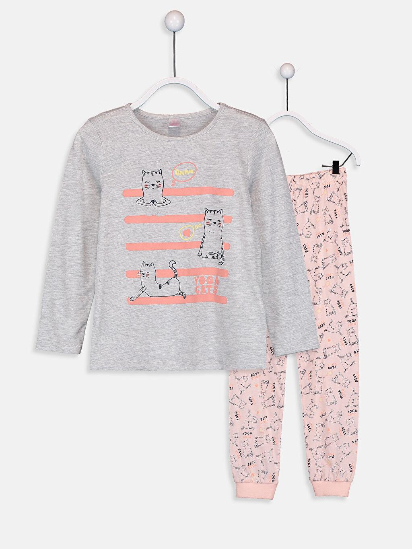 Gri Kız Çocuk Pamuklu Pijama Takımı 9S0574Z4 LC Waikiki