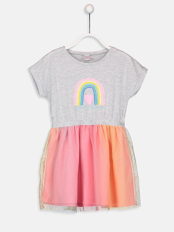 Gri Kız Çocuk Baskılı Elbise 9S0722Z4 LC Waikiki