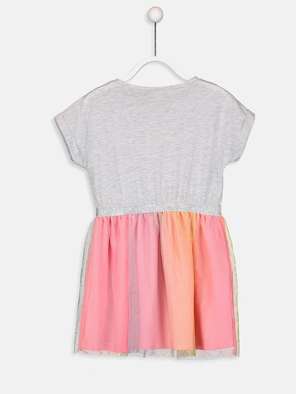 %40 Pamuk %60 Polyester Diz Üstü Desenli Kız Çocuk Baskılı Elbise