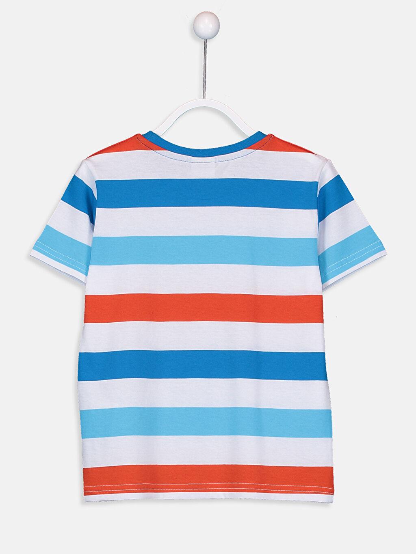 %99 Pamuk %1 Polyester Çizgili Normal Tişört Bisiklet Yaka Erkek Çocuk Çizgili Pamuklu Tişört