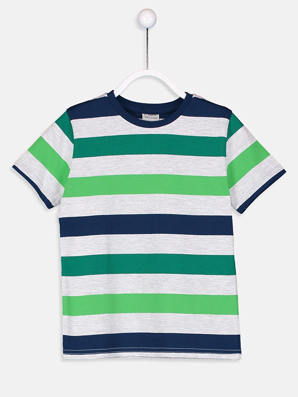 Yeşil Erkek Çocuk Çizgili Pamuklu Tişört 9S2716Z4 LC Waikiki