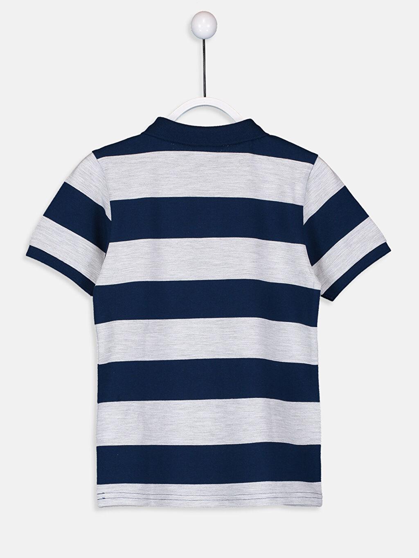 %99 Pamuk %1 Polyester Çizgili Normal Tişört Polo Erkek Çocuk Çizgili Basic Tişört