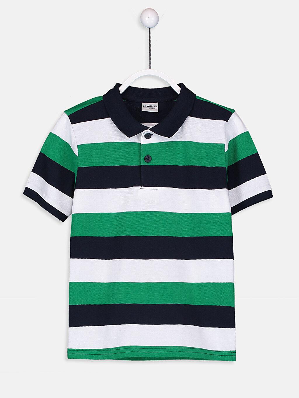 Yeşil Erkek Çocuk Çizgili Pamuklu Tişört 9S2721Z4 LC Waikiki