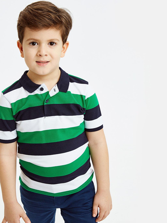 %100 Pamuk Erkek Çocuk Çizgili Pamuklu Tişört