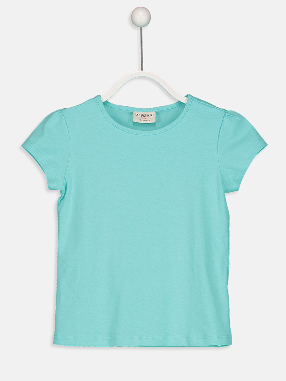 Turkuaz Kız Çocuk Pamuklu Basic Tişört 9S2892Z4 LC Waikiki