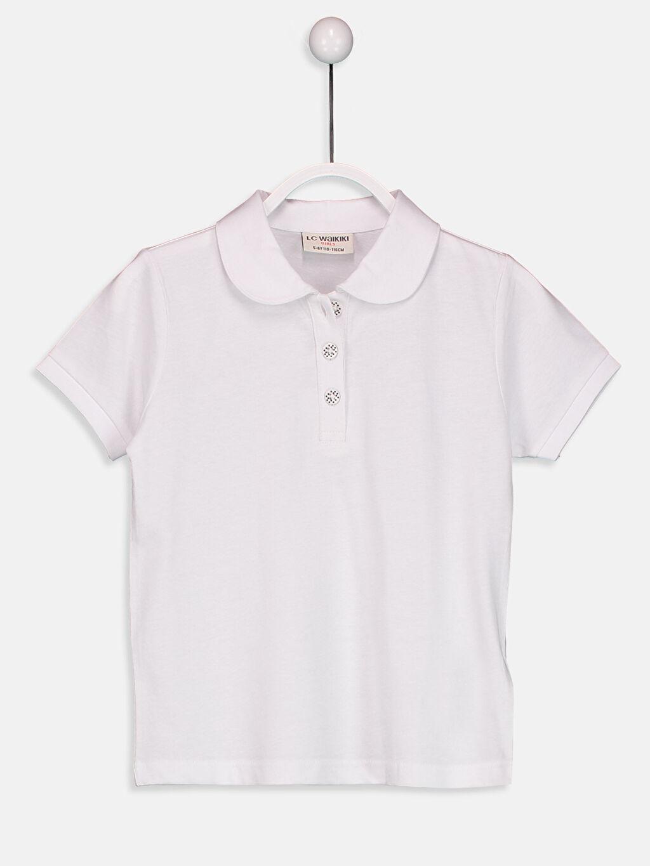 Beyaz Kız Çocuk Düz Polo Yaka tişört 9S2896Z4 LC Waikiki