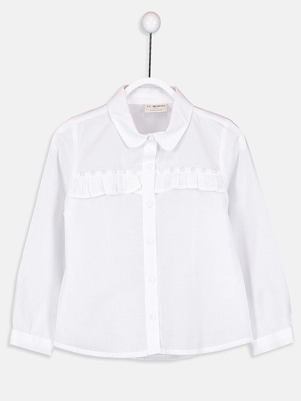 Ekru Kız Çocuk Fırfırlı Poplin Gömlek 9S3144Z4 LC Waikiki