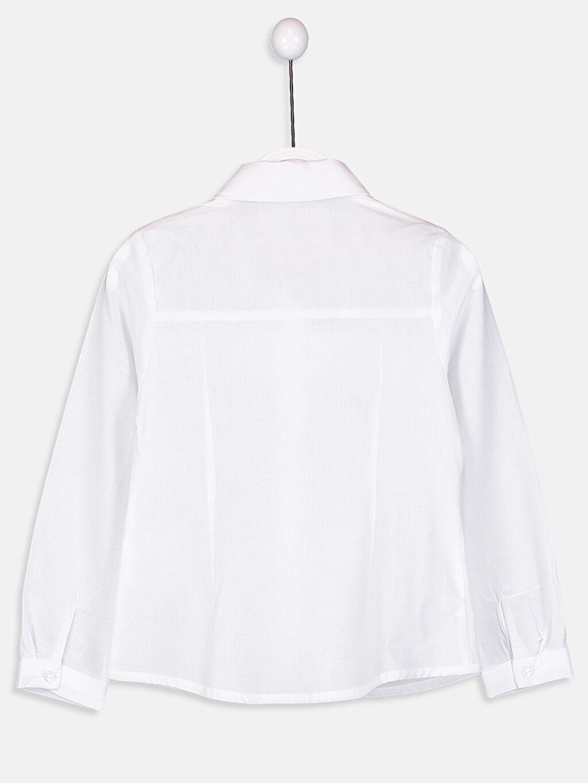 %100 Pamuk Standart Gömlek Düz Uzun Kol Kız Çocuk Fırfırlı Poplin Gömlek