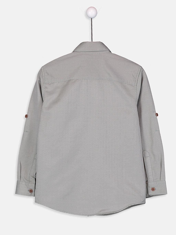 %68 Pamuk %32 Polyester Standart Uzun Kol Düz Erkek Çocuk Uzun Kollu Gömlek