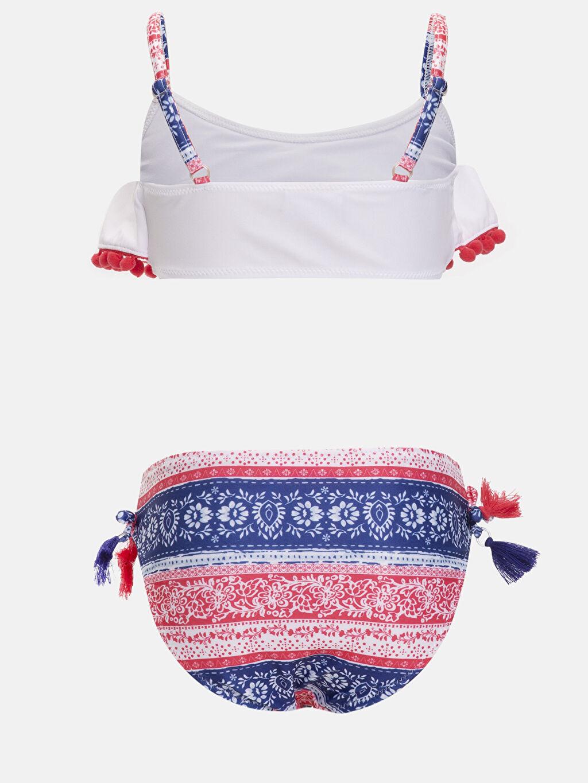 %80 Polyester %20 Elastan %90 Polyester %10 Elastan Bikini Kız Çocuk Baskılı Püsküllü Bikini