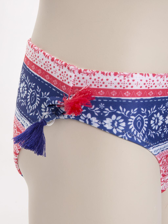 %80 Polyester %20 Elastan Kız Çocuk Baskılı Püsküllü Bikini