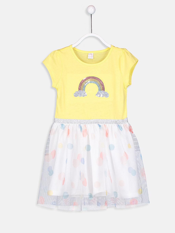 Sarı Kız Çocuk Pul İşlemeli Pamuklu Elbise 9S4837Z4 LC Waikiki