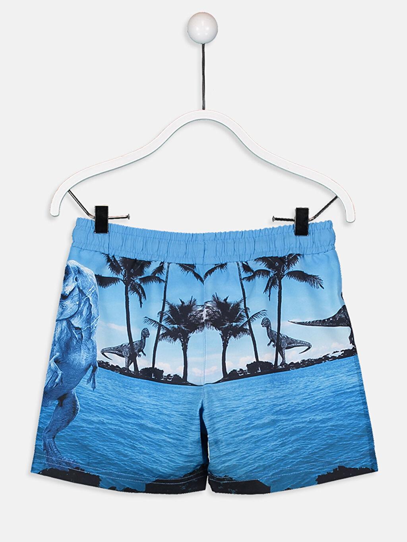 %100 Polyester %100 Polyester Şort Erkek Çocuk Baskılı Deniz Şortu