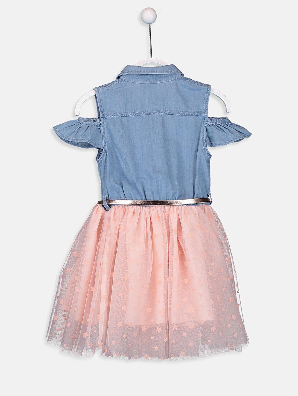 %100 Pamuk %100 Poliüretan %100 Polyester Diz Üstü Düz Kız Çocuk Omuzu Açık Tütü Elbise ve Kemer