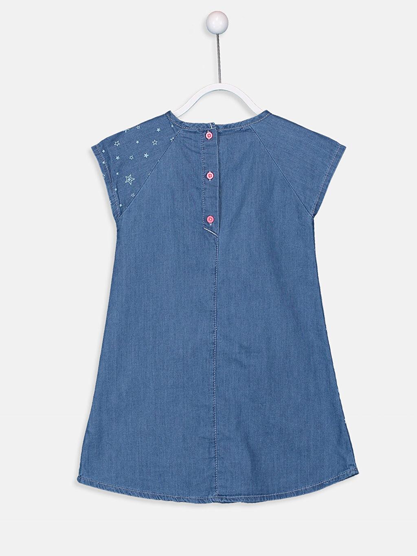 %100 Pamuk Diz Üstü Desenli Kız Çocuk Nakışlı Jean Elbise